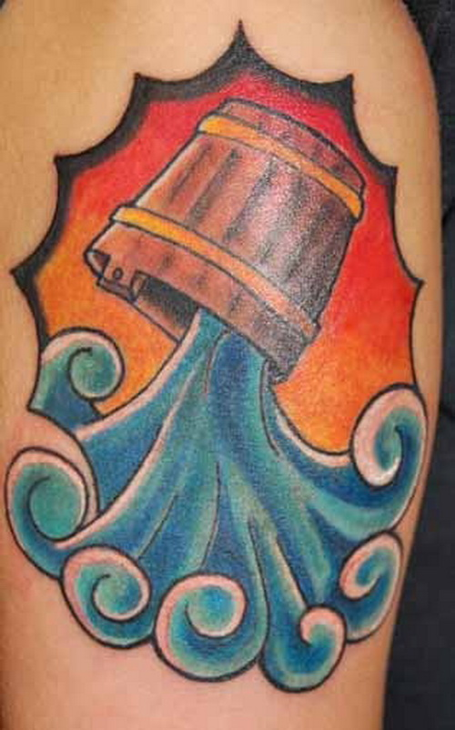 Nice Colored Aquarius Tattoo