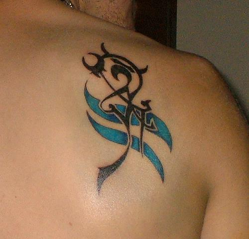 Right Back Shoulder Aquarius Tattoo For Girls