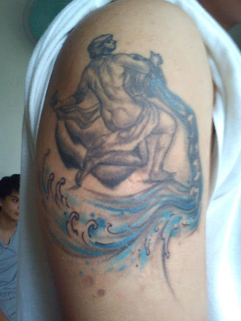 Right Half Sleeve Aquarius Tattoo For Men