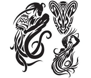 Tribal Aquarius Tattoos Designs