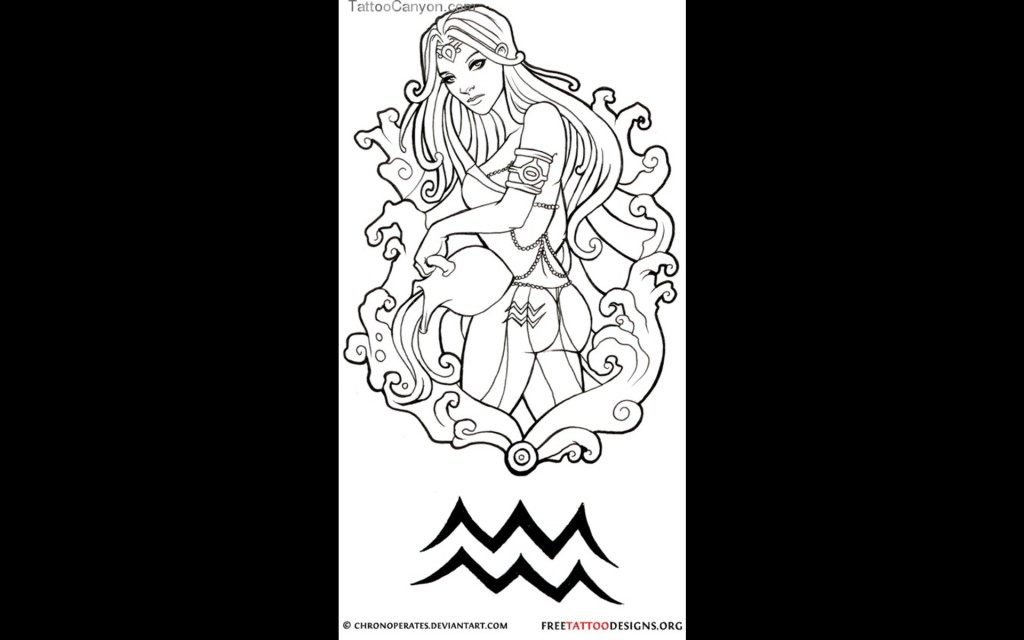 Unique Aquarius Tattoo Design
