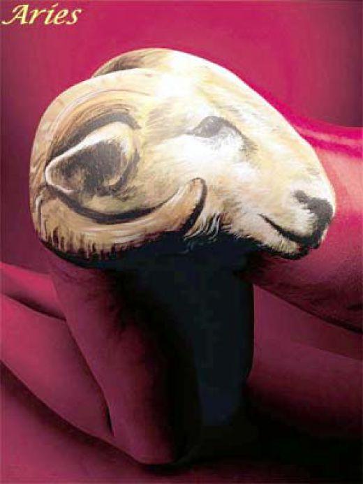Amazing Goat Head Aries Tattoo Design For Men