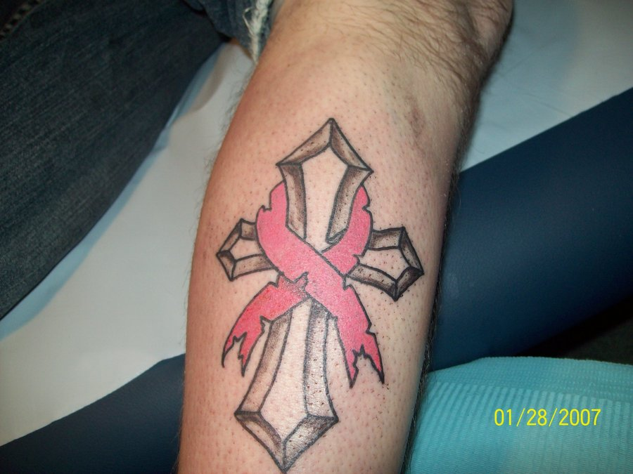 Amazing grey ink cross and pink ribbon cancer tattoo for Cancer ribbon tattoo pictures