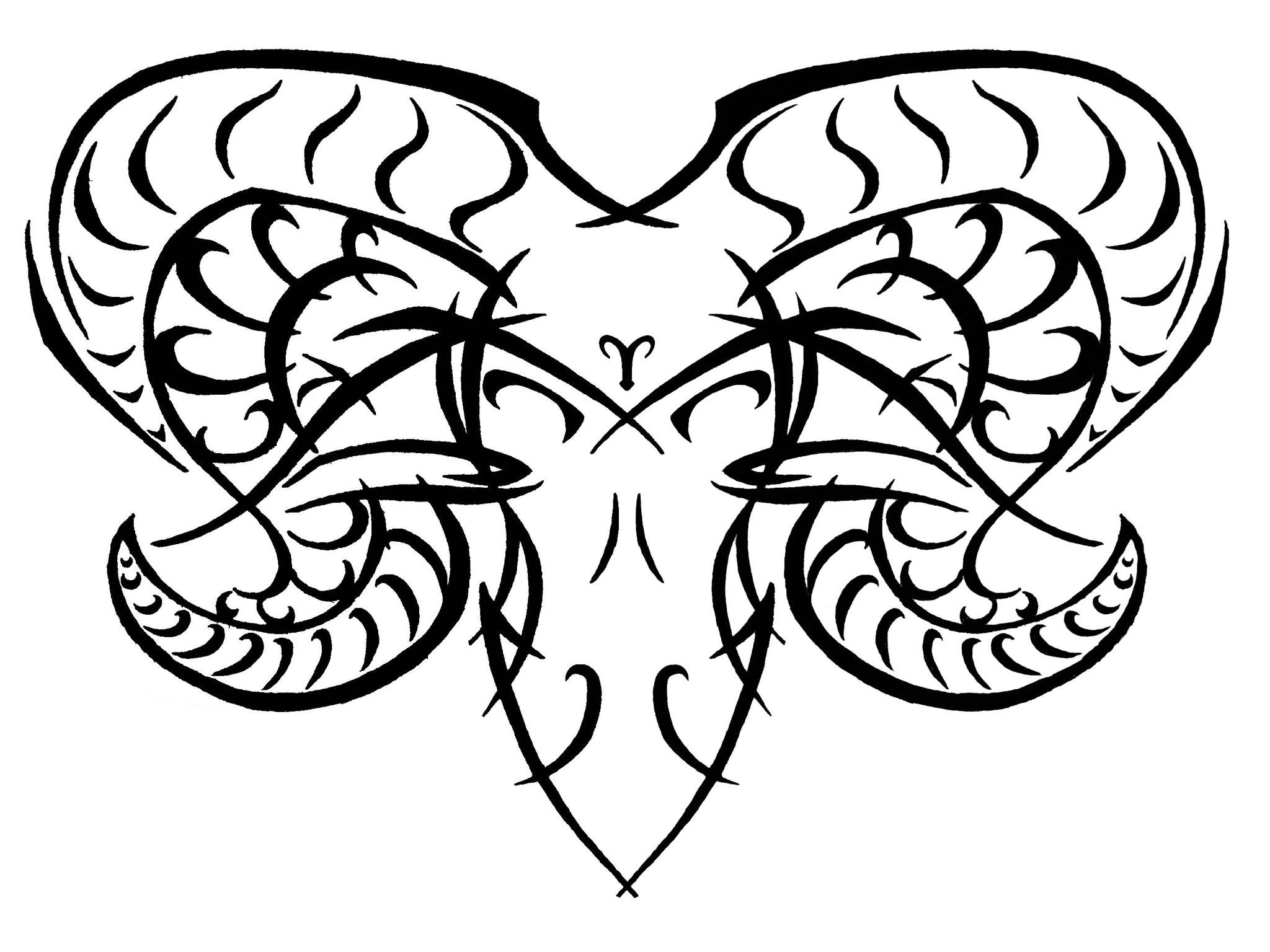 Amazing Tribal Aries Tattoo Design