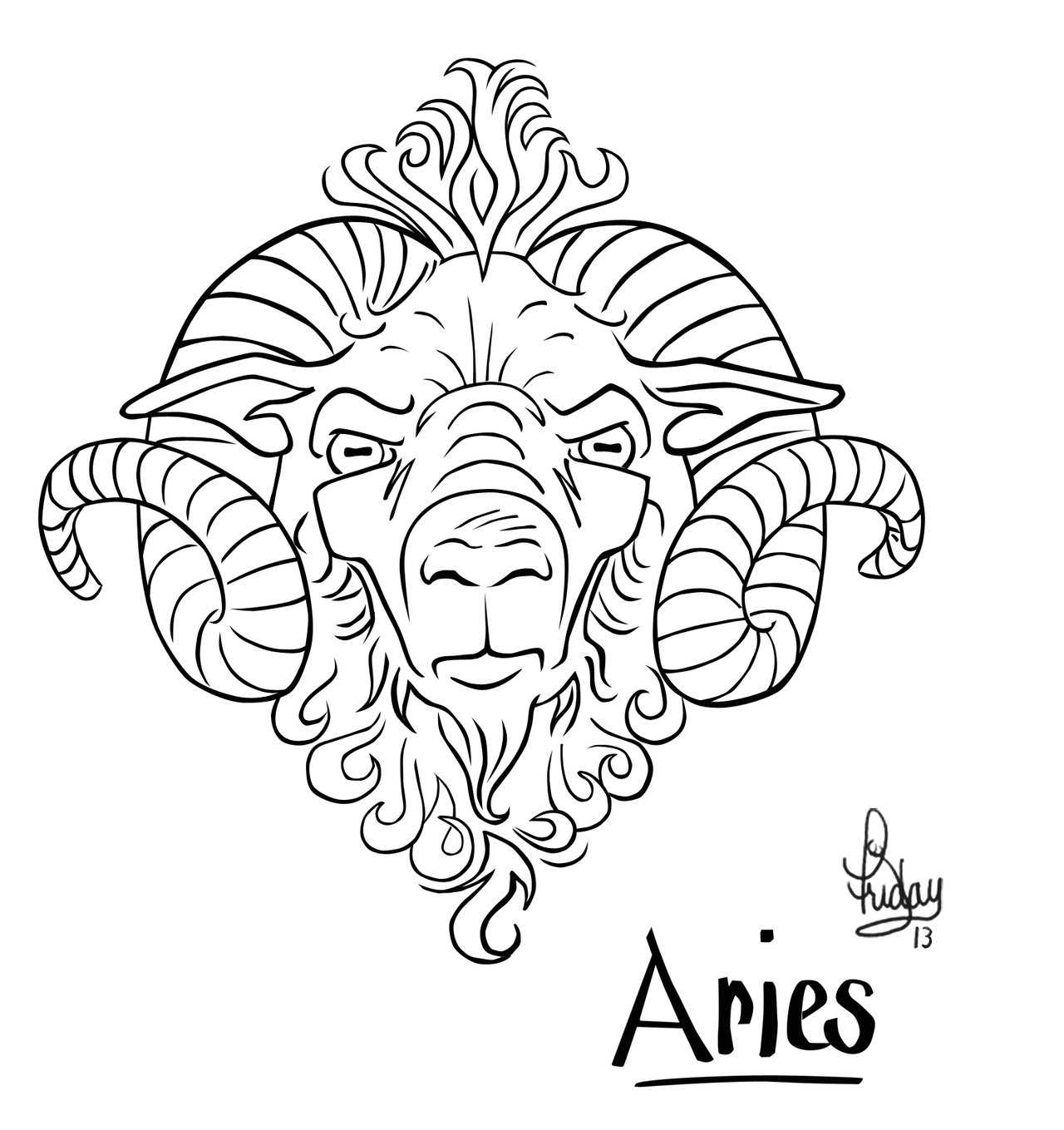 829af9e3e Aries Goat Head Tattoo Design