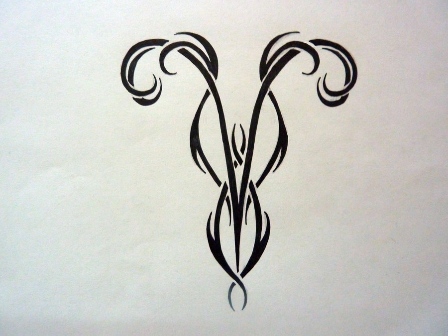 black tribal aries zodiac tattoo design. Black Bedroom Furniture Sets. Home Design Ideas