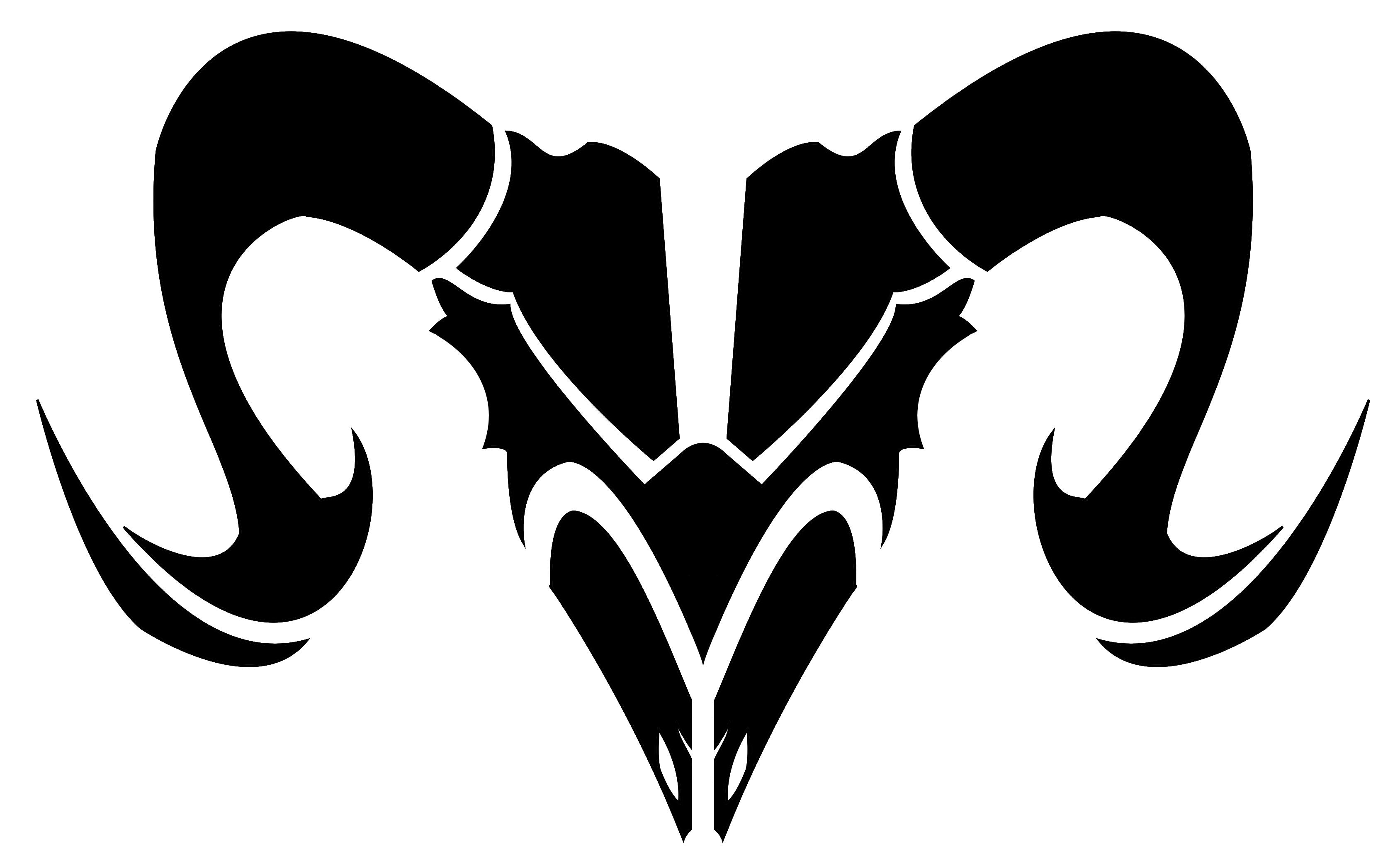 Black Ink Tribal Aries Zodiac Symbol Tattoo Design