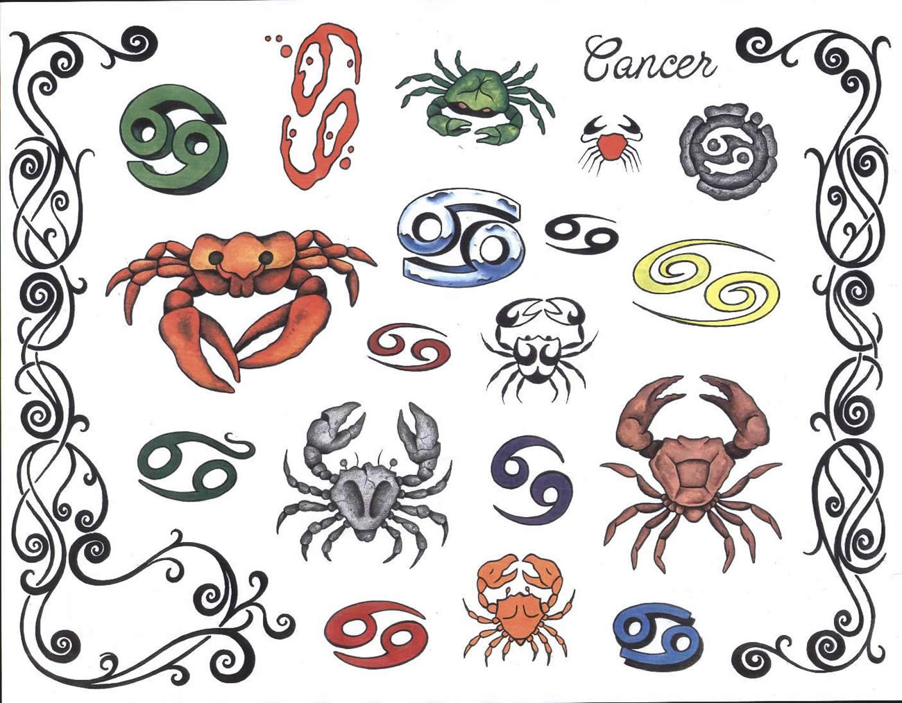 Colorful Zodiac Cancer Tattoos Designs