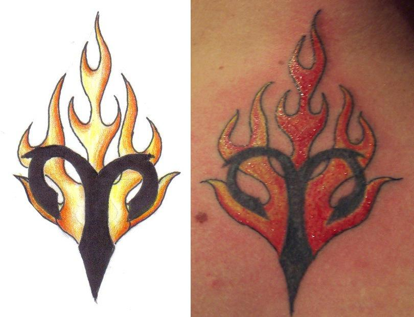 flaming aries symbol tattoo. Black Bedroom Furniture Sets. Home Design Ideas
