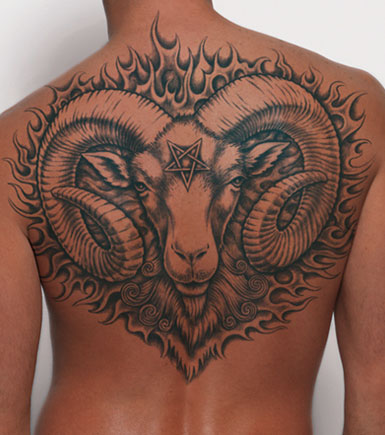 Grey Ink Aries Tattoo On Back Body