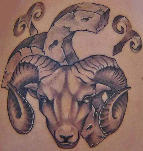 Grey Ink Goat Head And Aries Zodiac Tattoo