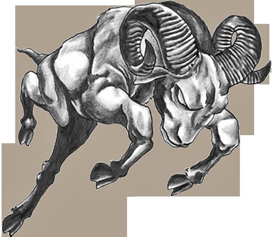 Grey Ink Jumping Goat Aries Tattoo Design
