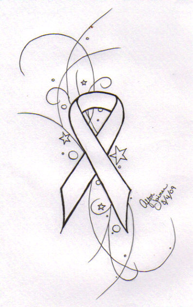 Mom With Cancer Ribbon Tattoo Design
