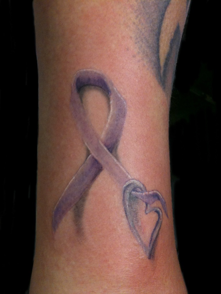 Blue Heart And Cancer Ribbon Tattoo
