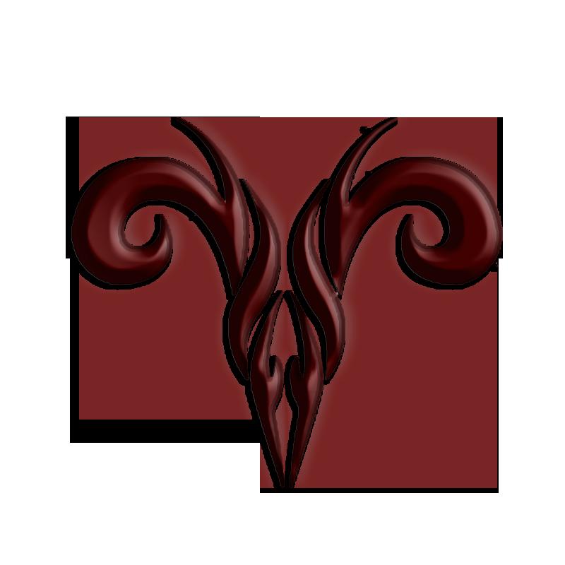 Tribal Brown Ink Aries Tattoo Design