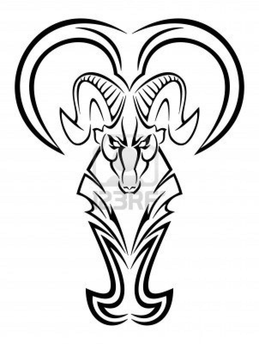 Tribal Zodiac Aries Tattoo Design
