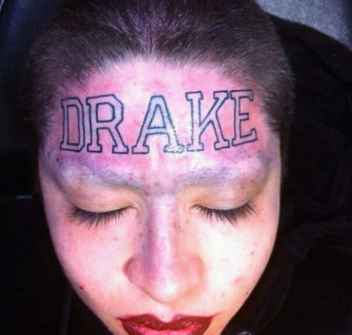 b5ba0a8bd75c3 Beautiful Drake Word Face Tattoo For Girls