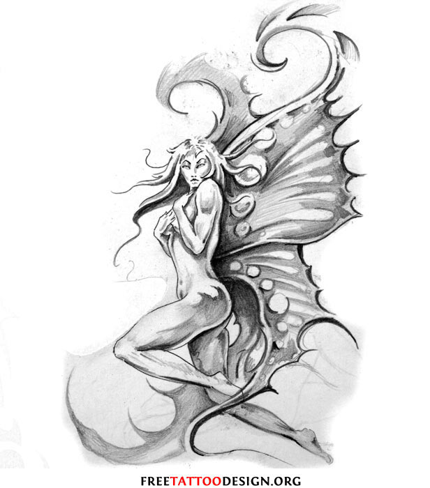 Girl With Butterfly Wings Drawing Fairy Tattoo