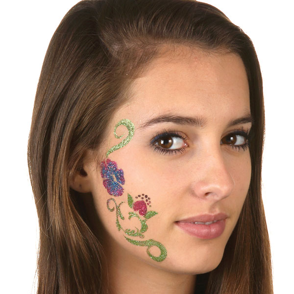 Black Ink Tribal Face Tattoo For Women