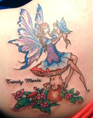 colored flowers and fairy sitting on mushroom tattoo. Black Bedroom Furniture Sets. Home Design Ideas