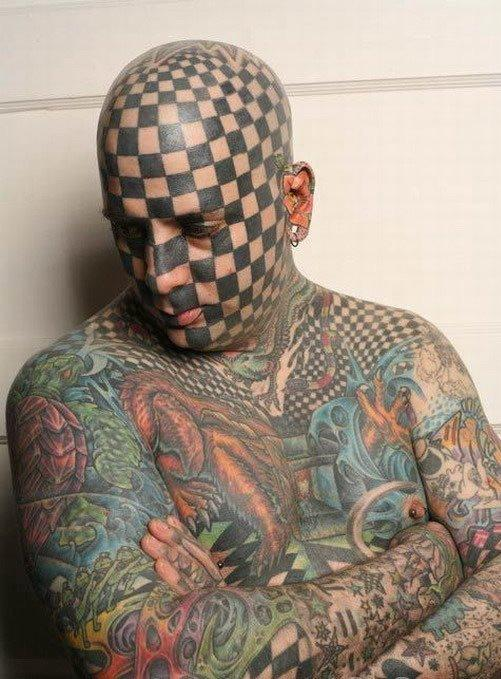 Crazy Chess Face Tattoo