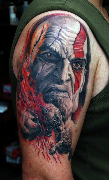 Demon face tattoo on right half sleeve for Demon half sleeve tattoos