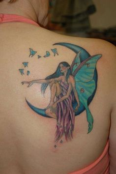 fairy sitting on moon tattoo on right back shoulder. Black Bedroom Furniture Sets. Home Design Ideas