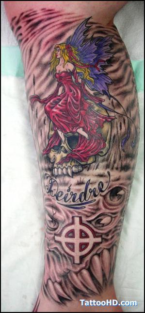 Fairies tattoo images designs for Skull fairy tattoos