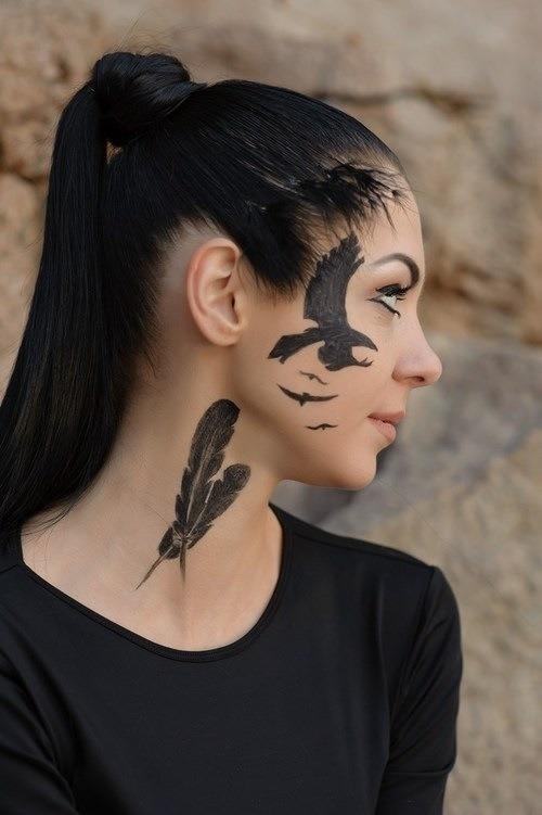 Feminine celtic cross tattoos feminine celtic tattoos feminine - Feather And Flying Bird Face Tattoo