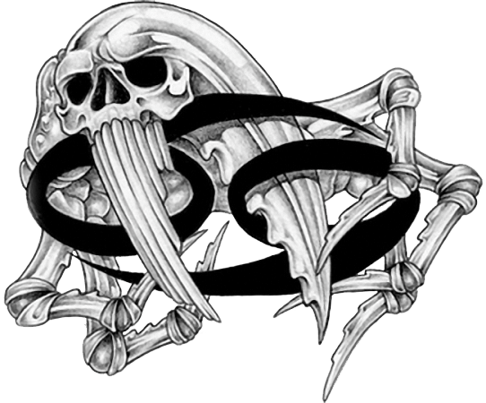 Grey Ink Crab Skull And Cancer Zodiac Tattoo Design