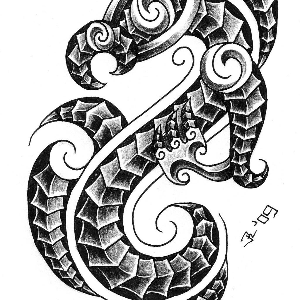 Latest Grey Ink Capricorn Tattoo Design