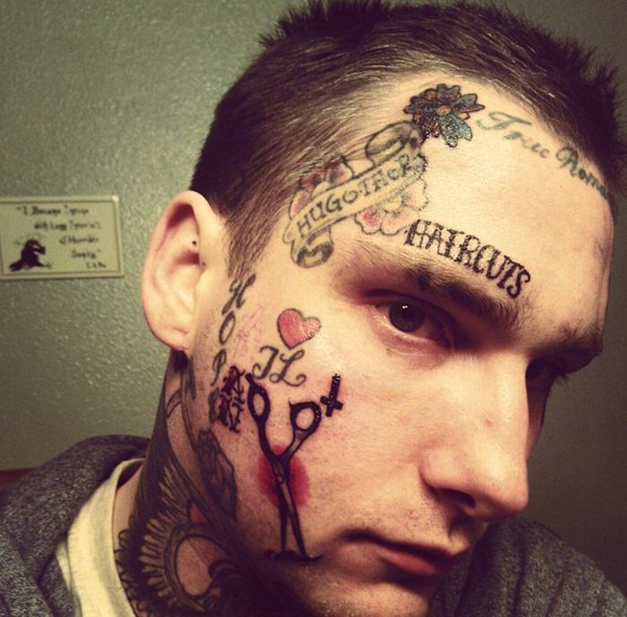 Swirl Face Tattoo For Girls