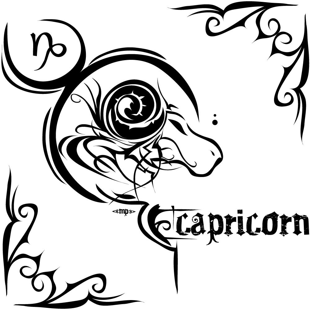 Tribal Capricorn Tattoo Design For Men