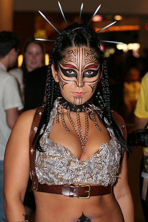 Women With Tribal Face Tattoo