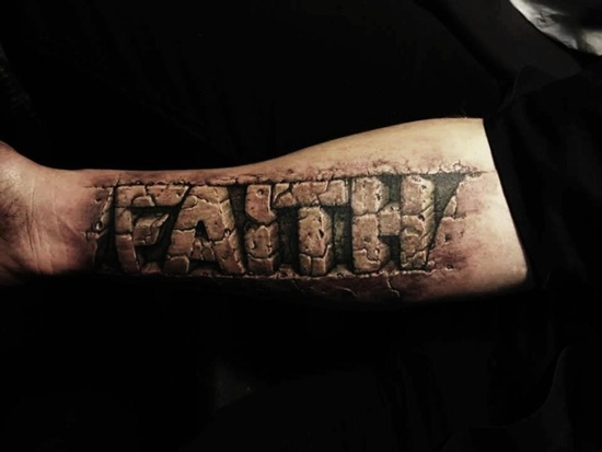 Awesome 3D Faith Tattoo On Forearm