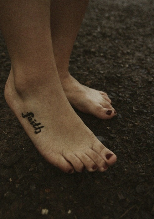 Awesome Girl Right Foot Faith Tattoo