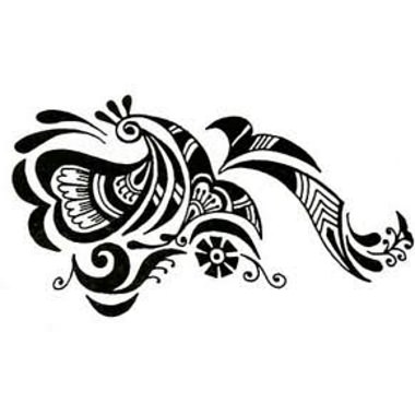 black tribal and grey ink fantasy tattoo design. Black Bedroom Furniture Sets. Home Design Ideas