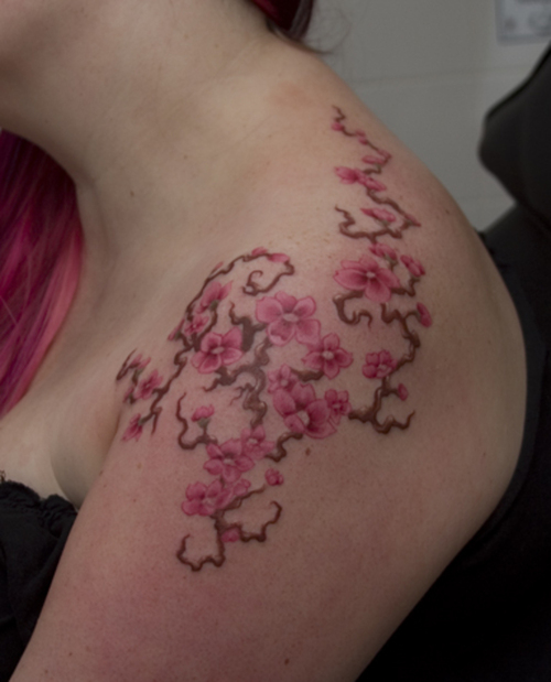 cherry blossom flowers feminine tattoo on left shoulder. Black Bedroom Furniture Sets. Home Design Ideas