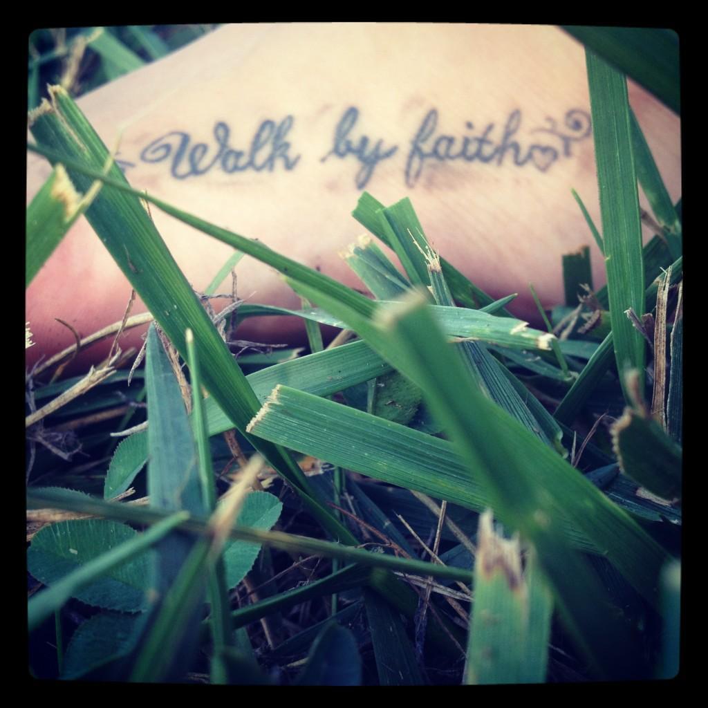 Walk by Faith Foot Tattoo