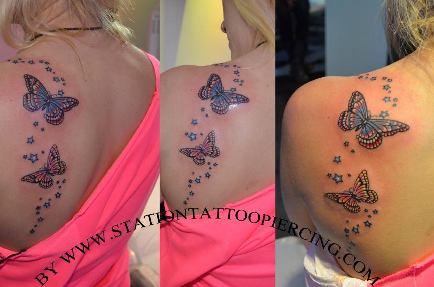 51f4b2fd5 Colored Butterfly And Stars Tattoos On Back Shoulder