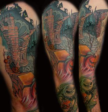 29811da0e Cool Colored Fantasy Tattoo On Sleeve