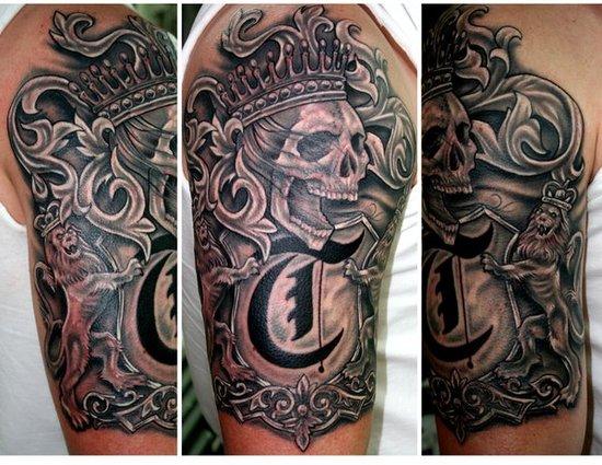 grey ink german family crest tattoo on half sleeve. Black Bedroom Furniture Sets. Home Design Ideas