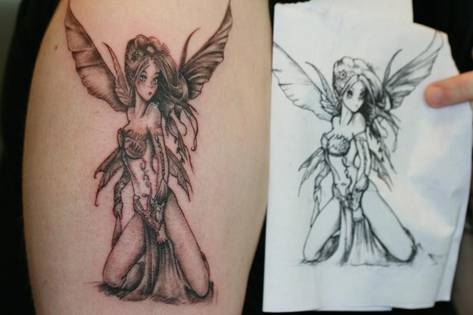 cf708eeecb4a9 Half Sleeve Grey Ink Fairy Tattoo Design