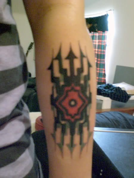 Left Arm Black Ink Fantasy Tattoo