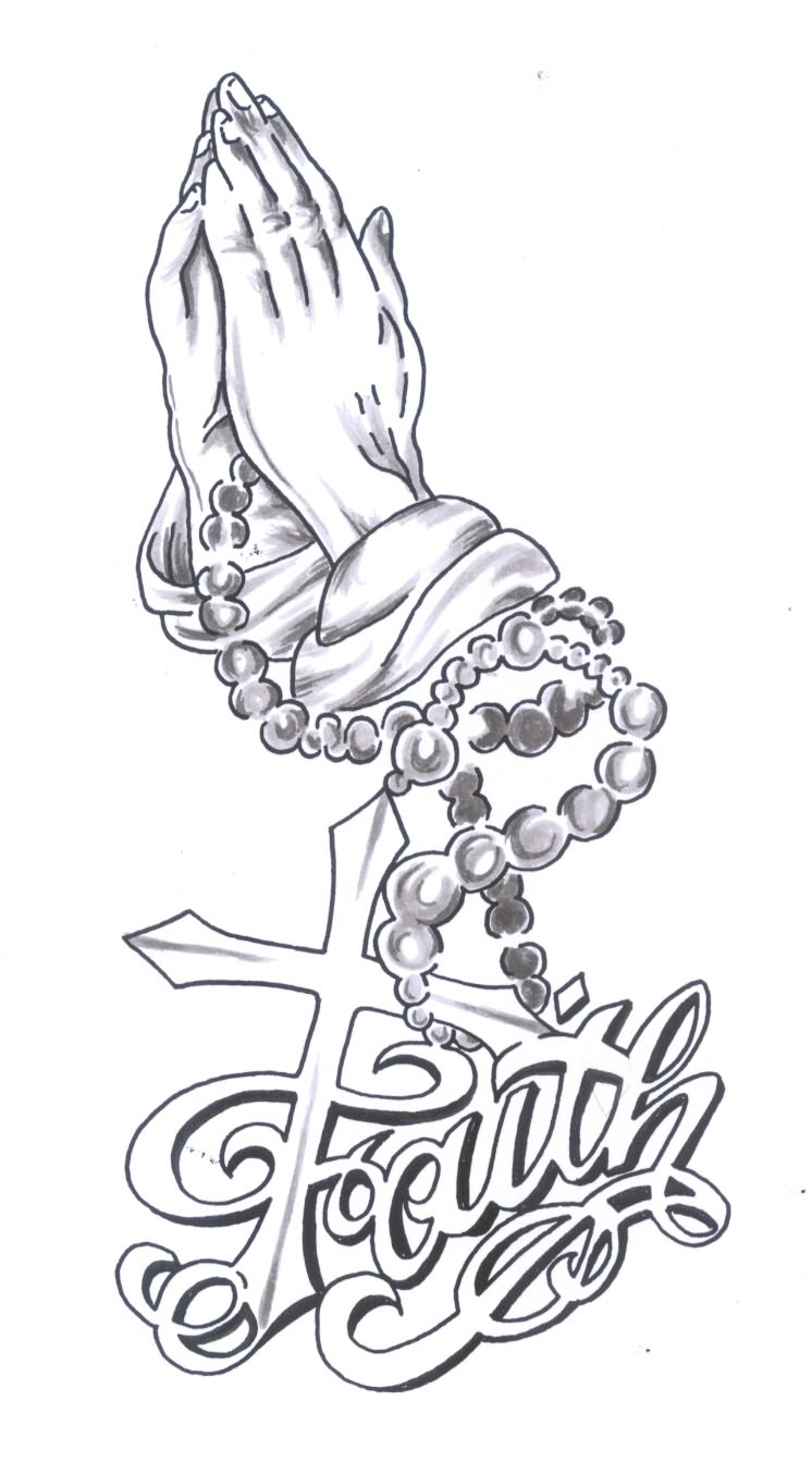 praying hands rosary and faith tattoo design