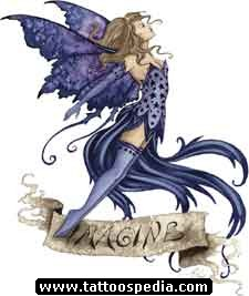 Purple Ink Fairy Fantasy Tattoo Design