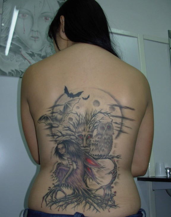 scary gothic fairy tattoo with tree and bats. Black Bedroom Furniture Sets. Home Design Ideas