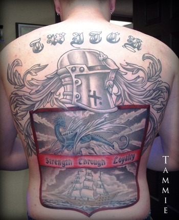 Strength Through Loyalty Family Crest Tattoo On Back