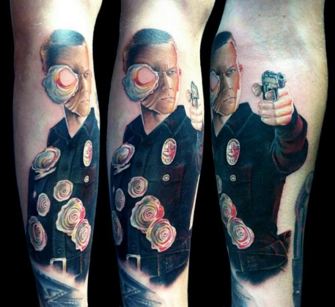 Terminator Fantasy Tattoo On Left Sleeve