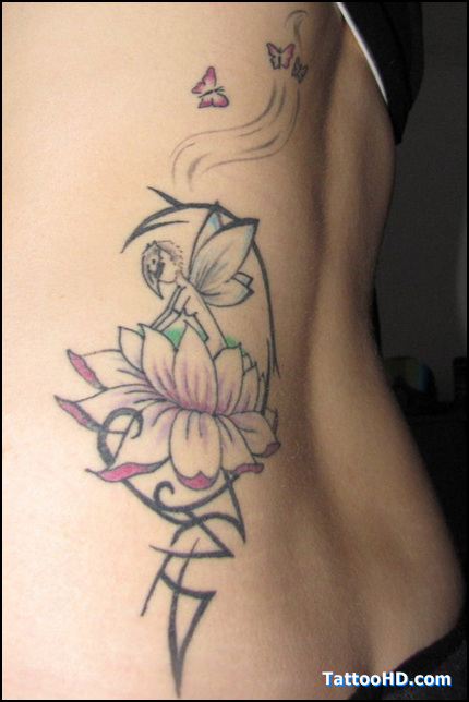 Tribal Lotus Flower And Fairy Tattoo On Back